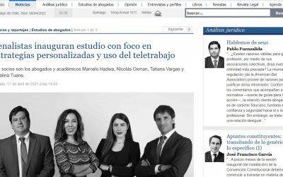 [El Mercurio Legal] Penalistas inauguran estudio con foco en estrategias personalizadas y uso del teletrabajo